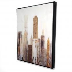Framed 36 x 48 - 3D - Abstract earthy tones city