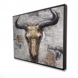 Framed 36 x 48 - 3D - Bull skull with typography
