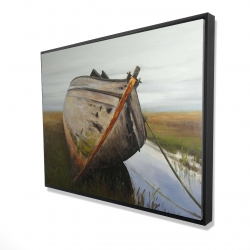 Framed 36 x 48 - 3D - Old abandoned boat in a swamp