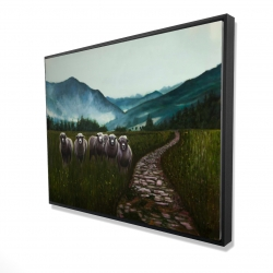 Framed 36 x 48 - 3D - Sheep in the countryside