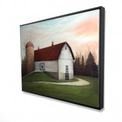 Framed 36 x 48 - 3D - White barn view