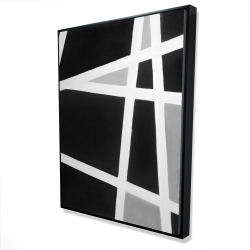 Framed 36 x 48 - 3D - Black and white abstract lines