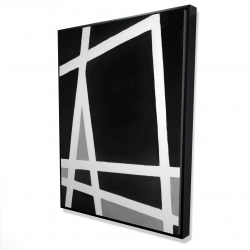 Framed 36 x 48 - 3D - Black and white abstract shapes