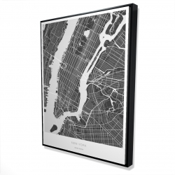 Framed 36 x 48 - 3D - New york graphic map