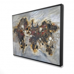 Framed 36 x 48 - 3D - Texturized world map with typography