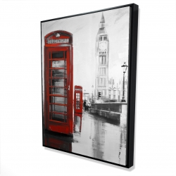 Framed 36 x 48 - 3D - Red phonebooth with the big ben