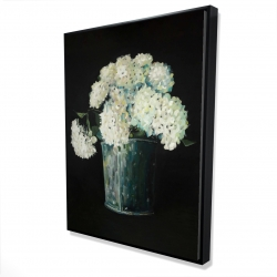 Framed 36 x 48 - 3D - White hydrangea flowers