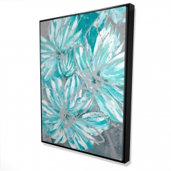 Framed 36 x 48 - 3D - Three little abstract blue flowers