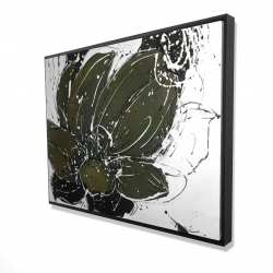 Framed 36 x 48 - 3D - Abstract flower with paint splash