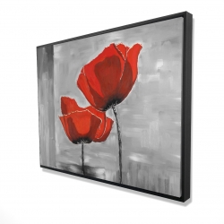 Framed 36 x 48 - 3D - Two red flowers on a grayscale background
