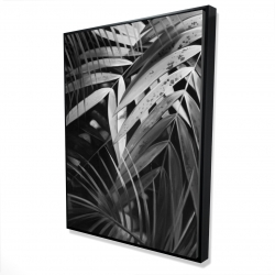 Framed 36 x 48 - 3D - Monochrome tropicals leaves