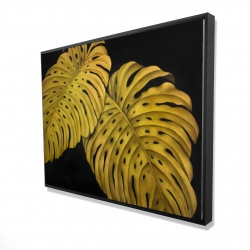 Framed 36 x 48 - 3D - Gold monstera