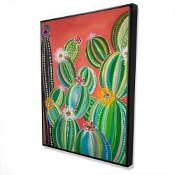 Framed 36 x 48 - 3D - Rainbow cactus