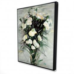 Framed 36 x 48 - 3D - Lisianthus white bouquet