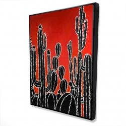 Framed 36 x 48 - 3D - Black tall cactus