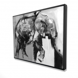 Framed 36 x 48 - 3D - Beautiful monochrome elephant