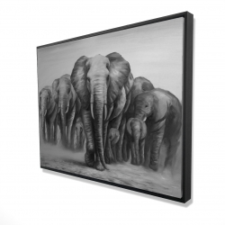 Framed 36 x 48 - 3D - Herd of elephants
