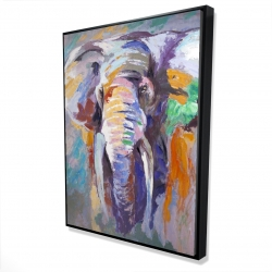 Framed 36 x 48 - 3D - Elephant in pastel color