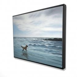 Framed 36 x 48 - 3D - Dog on the beach