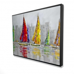 Framed 36 x 48 - 3D - Sailboats in the wind