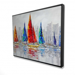 Framed 36 x 48 - 3D - Colorful boats near a gray city