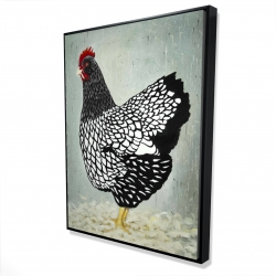 Framed 36 x 48 - 3D - Wyandotte  hen