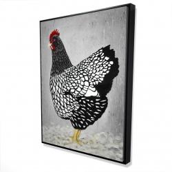 Framed 36 x 48 - 3D - Black and white wyandotte hen