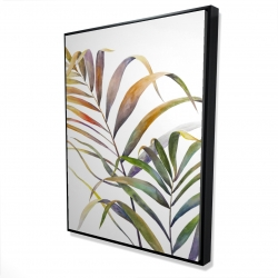 Framed 36 x 48 - 3D - Watercolor tropical palm leaves