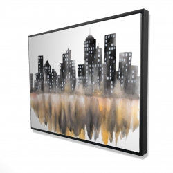Framed 36 x 48 - 3D - Yellow watercolor cityscape
