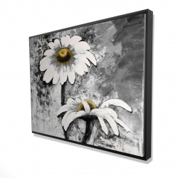 Framed 36 x 48 - 3D - Abstract daisies flowers