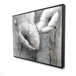 Framed 36 x 48 - 3D - Industrial monochrome flowers