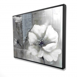 Framed 36 x 48 - 3D - Monochrome and silver flowers