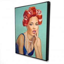 Framed 36 x 48 - 3D - Pin up girl with curlers