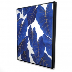 Framed 36 x 48 - 3D - Tropical abstract blue leaves