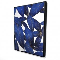 Framed 36 x 48 - 3D - Abstract modern blue leaves