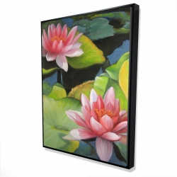 Framed 36 x 48 - 3D - Water lilies and lotus flowers