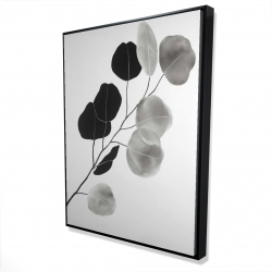 Framed 36 x 48 - 3D - Grayscale branch with round shape leaves