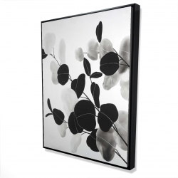 Framed 36 x 48 - 3D - Grayscale branches with leaves