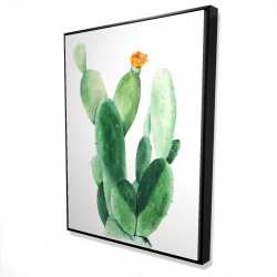 Framed 36 x 48 - 3D - Watercolor paddle cactus with flower