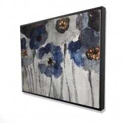 Framed 36 x 48 - 3D - Blue blurry flowers