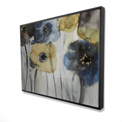 Framed 36 x 48 - 3D - Gray blue and yellow flowers