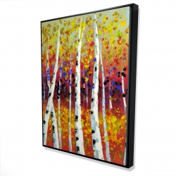 Framed 36 x 48 - 3D - Colored birches