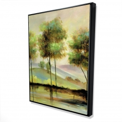 Framed 36 x 48 - 3D - Trees near the lake