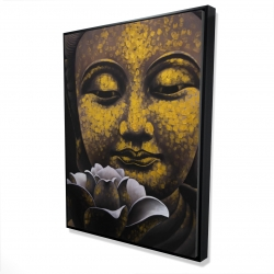Framed 36 x 48 - 3D - The eternal smile of buddha and his lotus