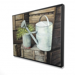 Framed 36 x 48 - 3D - Vintage watering can
