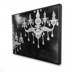 Framed 36 x 48 - 3D - White chandeliers