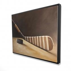 Framed 36 x 48 - 3D - Stick and hockey puck