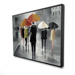 Framed 36 x 48 - 3D - Street scene with umbrellas