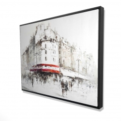 Framed 36 x 48 - 3D - White street with red accents