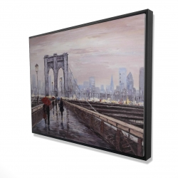 Framed 36 x 48 - 3D - Brooklyn bridge with passersby